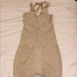 Gold Bodycon Bandage BEBE dress